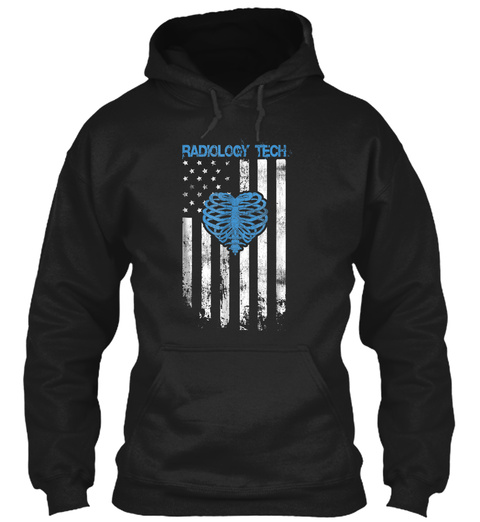 Radiology Tech Gift, American Flag Ribs  Black T-Shirt Front