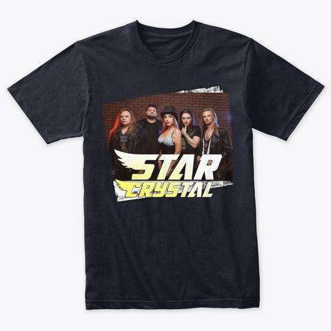 Star Crystal In Black Vintage Navy T-Shirt Front