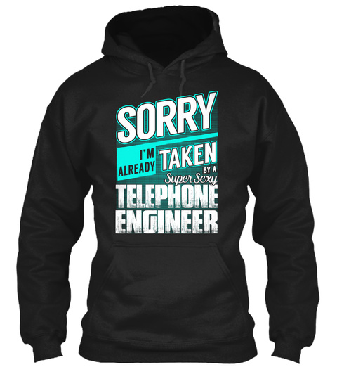 Telephone Engineer   Super Sexy Black T-Shirt Front
