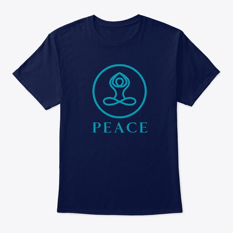 Peace Yoga Design T Shirt Navy T-Shirt Front