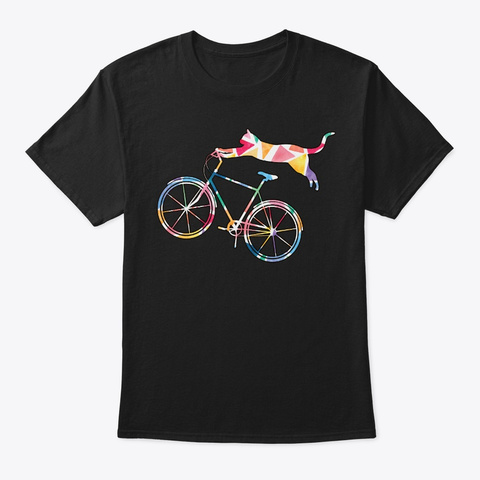Cat Bicycle Kitten Gifts For Cyclists Black T-Shirt Front