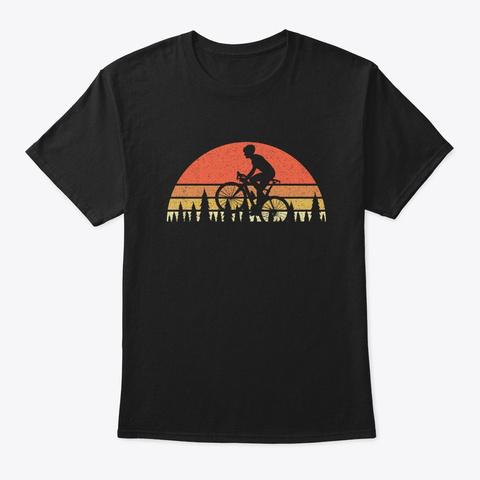 Bike Sunset And Trees Design Black T-Shirt Front