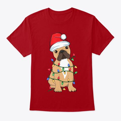 French Bulldog Christmas Tree Light Dog Deep Red T-Shirt Front