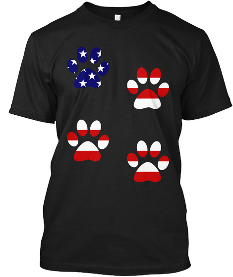 Dog Cat Paw American Independence Day Black T-Shirt Front