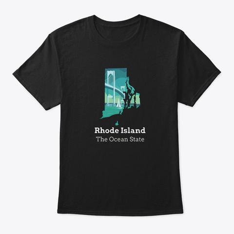 State Motto    Rhode Island Black T-Shirt Front