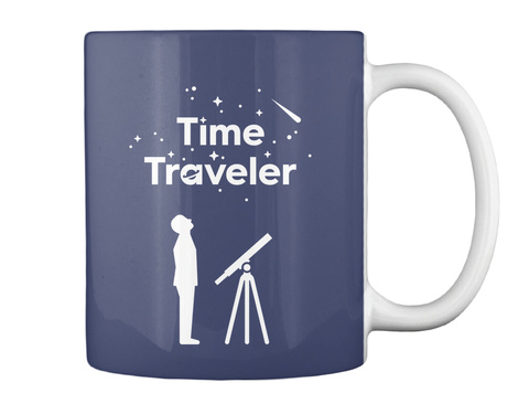 Time Traveler Man Mug [Usa] #Sfsf Dk Navy Mug Back