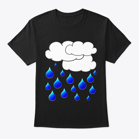 Rain Cloud Raindrops Costume Shirt Easy Black T-Shirt Front