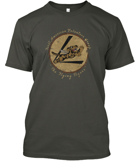 First American Volunteer Group The Flying Tigers Smoke Gray T-Shirt Front