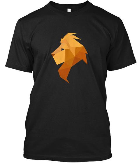 Low Poly Lion Black T-Shirt Front
