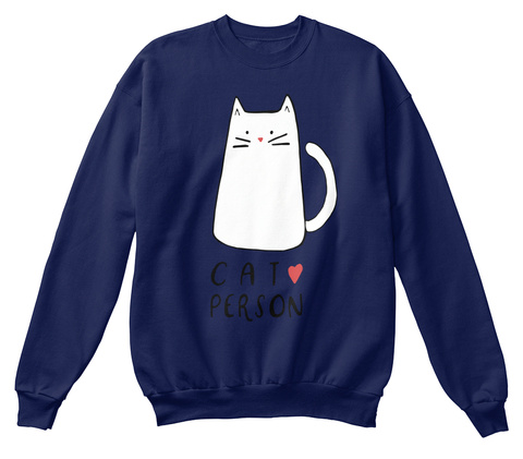 Cat Person Navy  T-Shirt Front