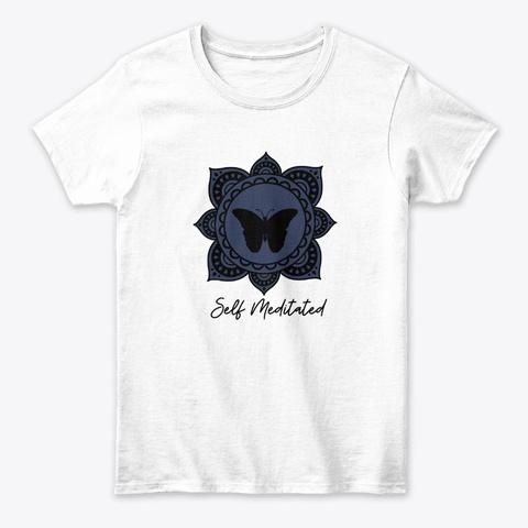 Self Meditated Mandala Butterfly Design White T-Shirt Front