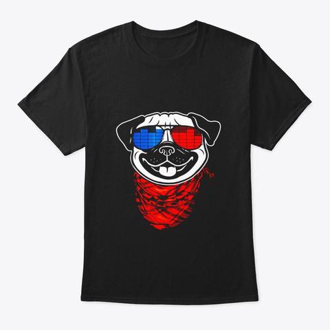 Pug Led Shirt Sound Activated Glow Light Black T-Shirt Front