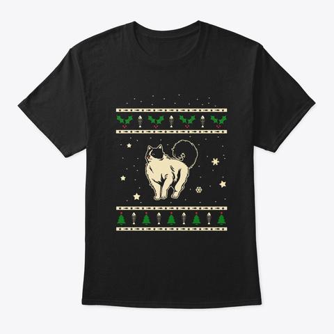 Christmas Ragdoll Gift Black T-Shirt Front