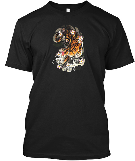 Japanese Tattoo Style Tiger Traditional  Black T-Shirt Front