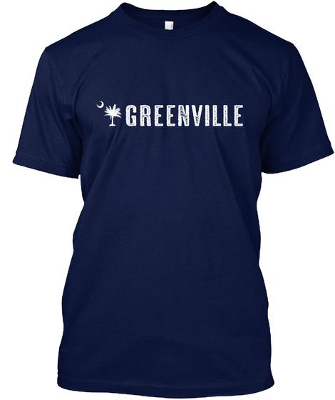 Greenville South Carolina Palm Navy T-Shirt Front