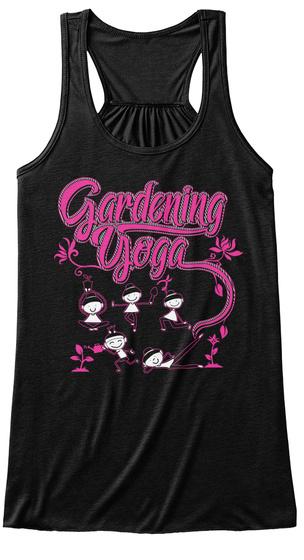Gardening Yoga Black T-Shirt Front