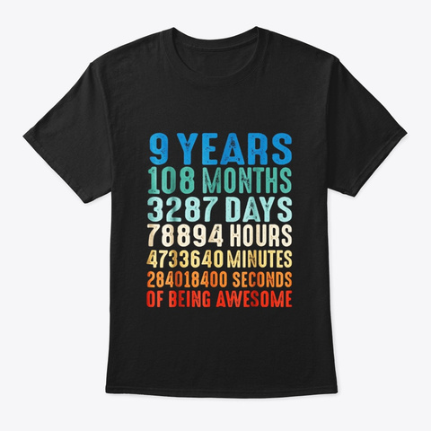9 Years Old 9th Birthday Vintage Retro T Black T-Shirt Front