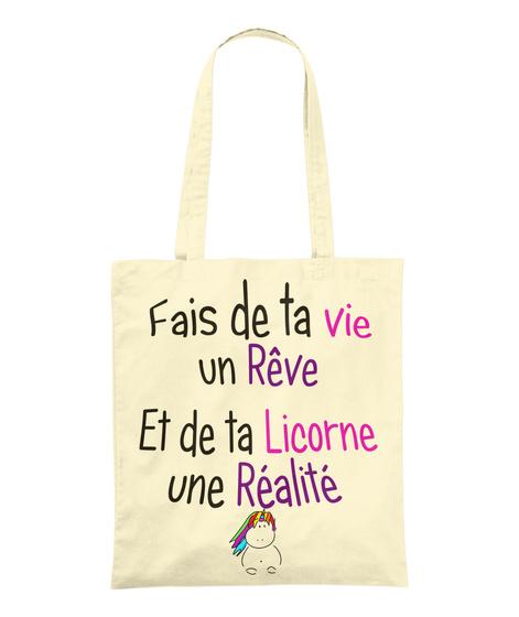Sac    Rêve Et Réalité Licorne Natural T-Shirt Front