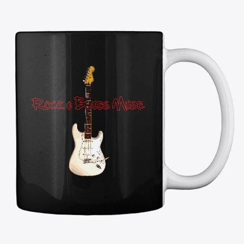 White Guitar On Mug Black T-Shirt Back