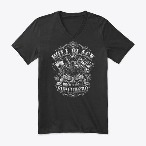 Will Black 'ops' Logo (Light) Black T-Shirt Front