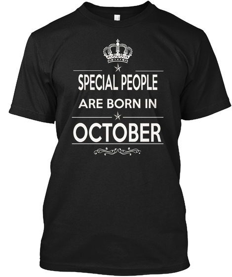 Born In October Black T-Shirt Front