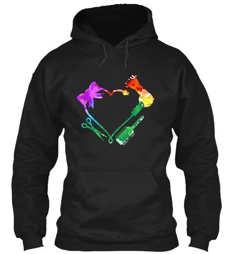 Hair Stylist Heart Art Black T-Shirt Front