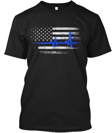 Thin Blue Line: Pulse Black T-Shirt Front