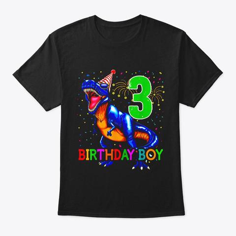 Boys Rawr Im 3 3rd Birthday Dinosaur Black T-Shirt Front