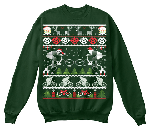 Mountain Biking Christmas Sweatshirt Deep Forest  T-Shirt Front