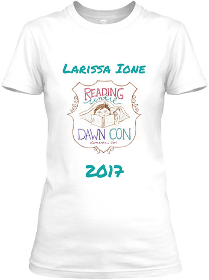 Larissa Ione Reading Untie Dawn Con 2017 White Women's T-Shirt Front