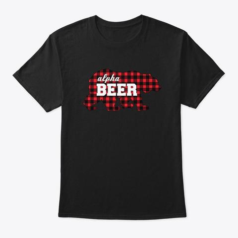 Buffalo Check Alpha Beer Bear  Black T-Shirt Front