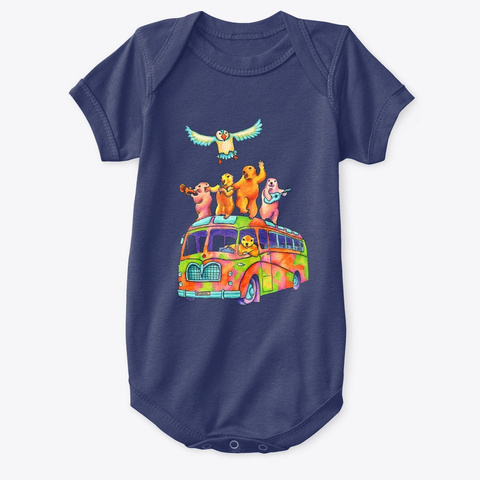 Monica Hulsing Party Bus Navy  T-Shirt Front