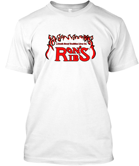 Classic Red Ron's Ribs Logo White T-Shirt Front