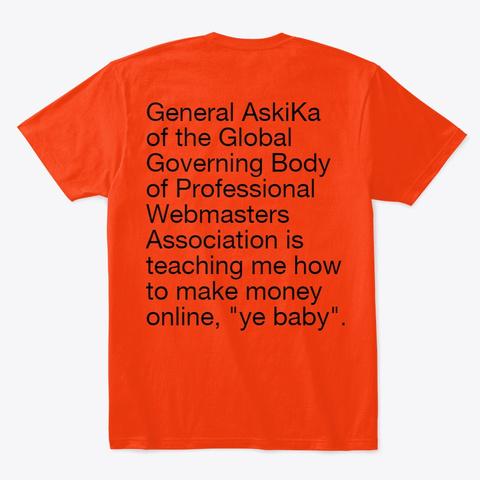 Aski Ka.Com Apparel Deep Orange  T-Shirt Back