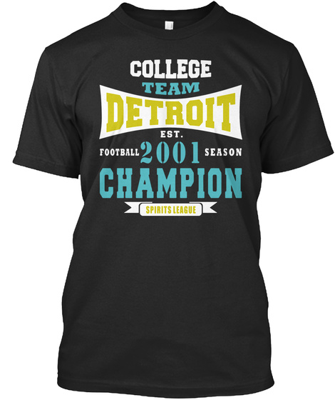 Team Detroit Football 2001 Season Champi Black T-Shirt Front