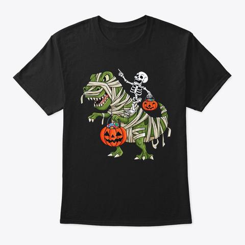 Skeleton Riding T Rex Fun Halloween Black T-Shirt Front