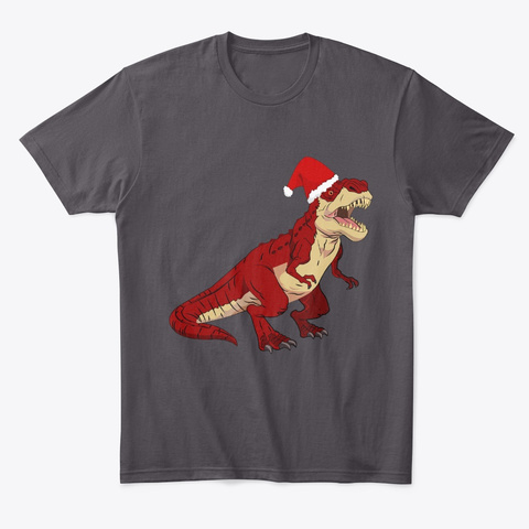 Christmas T Rex Presents And Christmas Heathered Charcoal  T-Shirt Front