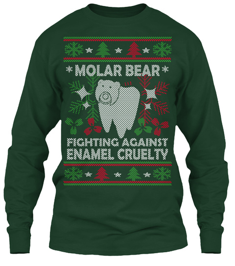Molar Bear Fighting Against Enamel Cruelty Forest Green T-Shirt Front