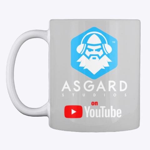 Asgard Studios On You Tube Light Grey Mug Front