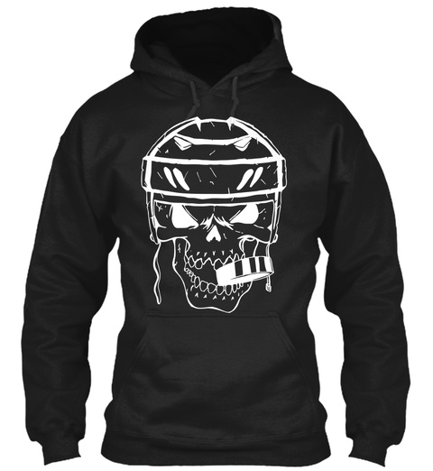 Hoodie Hockey Sports Skull Biting Puck Black T-Shirt Front