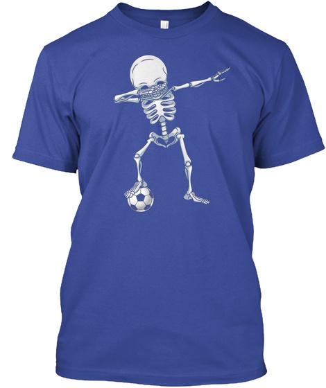53db0bf9 Dabbing Skeleton Soccer T Shirt Hallowee Deep Royal T-Shirt Front