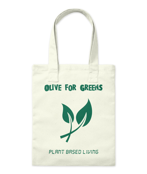 Olive For Greens Plant Based Living Natural Tote Bag Front