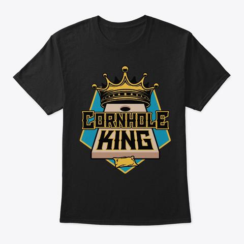 Cornhole King Mens Funny Bean Bag  Gamin Black T-Shirt Front