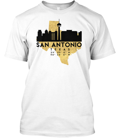 San Antonio Texas Skyline Map Art T Shirt White T-Shirt Front
