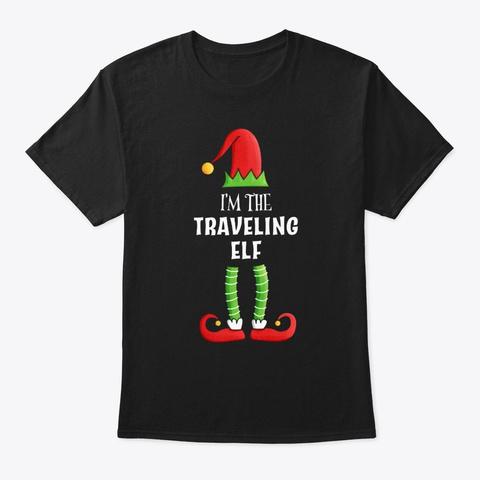 Traveling Elf Family Christmas Gift Black T-Shirt Front