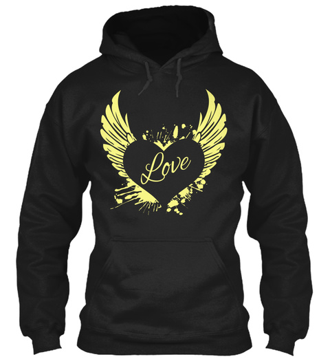 Love Heart Wings Yellow Hoodie Black T-Shirt Front