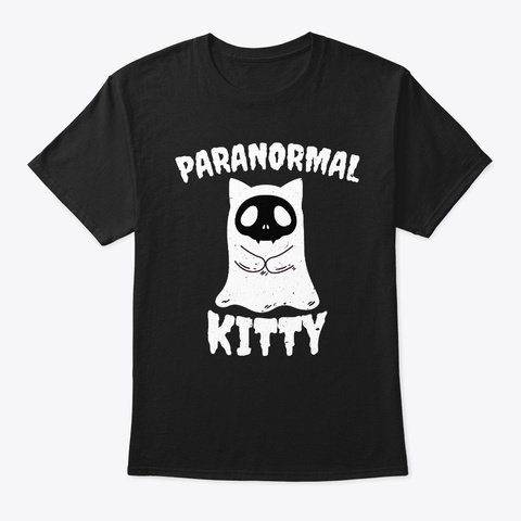 Paranormal Kitty Funny Ghost Cat Black T-Shirt Front