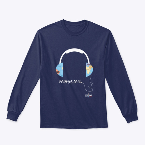 Connecting The World With Podcasts Navy T-Shirt Front