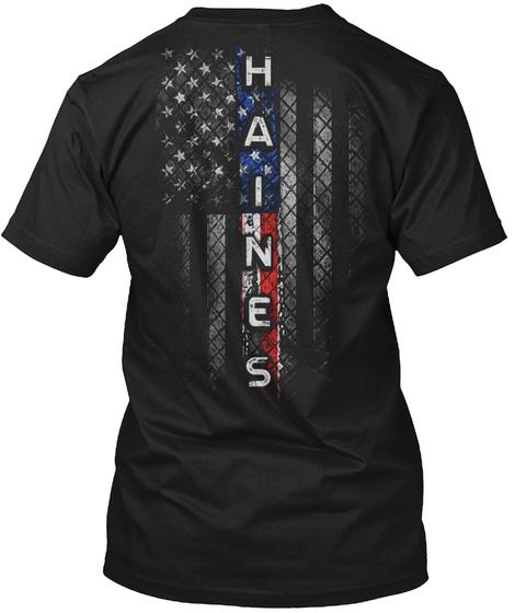 Haines Family American Flag Black T-Shirt Back