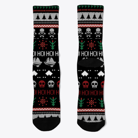 Pirate Skull Holiday Christmas Socks Black T-Shirt Front